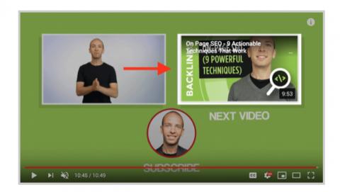 Youtube-videon päätösruutu